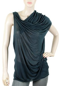 Helmut Lang Asymmetrical Drape Draped Sheer Sleeveless T Shirt Slate blue