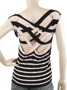 Jean-Paul Gaultier Striped Bold Stripe Crisscross Strap Sleeveless Drape Draped Nautical Sweater