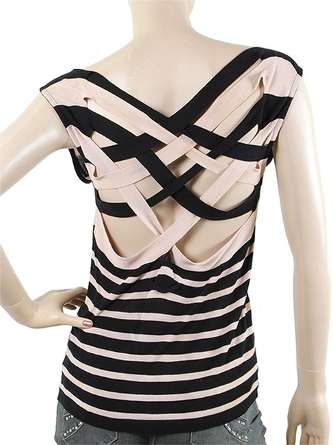 Preload https://img-static.tradesy.com/item/5548063/jean-paul-gaultier-pink-black-tops-striped-crisscross-knit-sweaterpullover-size-4-s-0-0-650-650.jpg