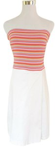 Laundry by Shelli Segal short dress White Strapless Stretchy Striped Tube Faux Wrap on Tradesy