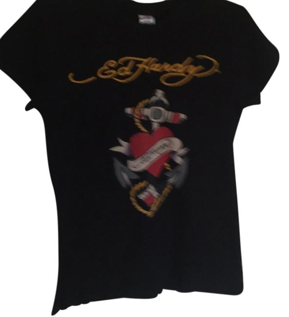 Ed Hardy T Shirt Black and red and yellow