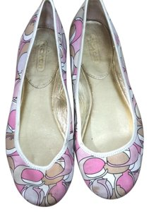 Coach Spring White, Pink, and Tan Flats