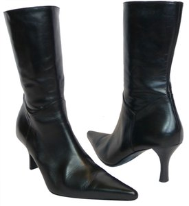 Charles David Mid Calf Leather Black Boots