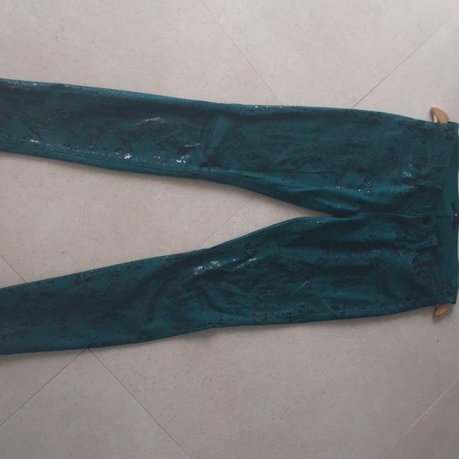 7 For All Mankind Skinny Pants Green Snake