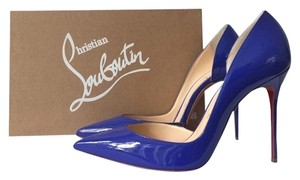 Christian Louboutin Iriza 100mm Pervenche Patent Leather Decollete Pigalle Follies D'orsay Blue Pumps