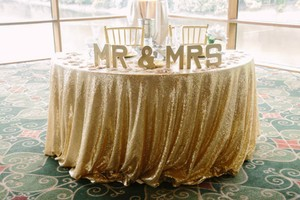 120' Round Champagne Gold Sequin Table Cloth