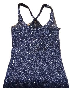 Forever 21 Top Navy Blue Sequin/sheer