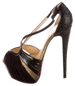 Christian Louboutin Patent Leather Leather Patent Snakeskin Animal Print Stiletto Peep Toe Platform Hidden Platform Gold Textured Black Pumps