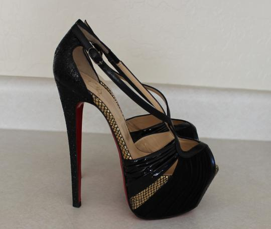 Christian Louboutin Patent Leather Leather Patent Snakeskin Black Pumps