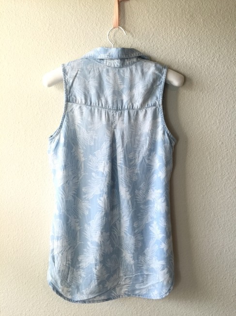 Anthropologie Chambray Scoop Denim Lace Top demin