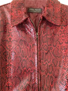 Vera Pelle Leather Leather Embossed Sheen Italian Red Snakeskin Print Leather Jacket