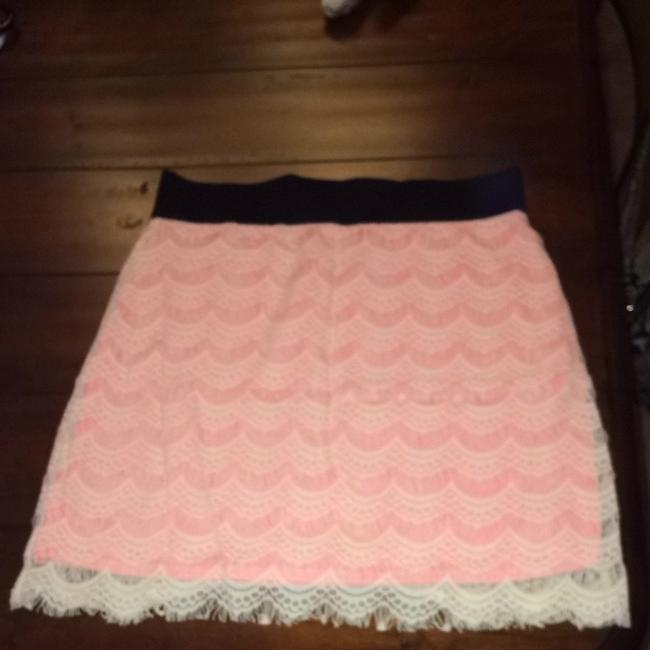Free People Lace Lace Overlay Knee-length Casual Summer Skirt Pink