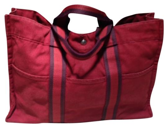 Preload https://item2.tradesy.com/images/hermes-multi-pocket-great-condition-super-clean-deep-red-with-black-striped-trim-cotton-and-canvas-t-5550451-0-0.jpg?width=440&height=440