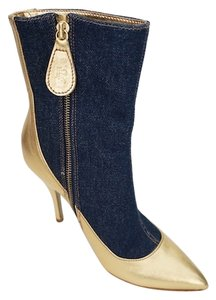 Dolce&Gabbana D&g Ankle Mid-calf Rock N' Roll Gold & Denim Boots