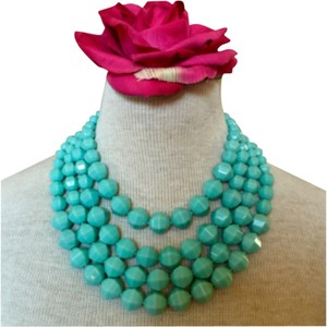 J.Crew For Bunny Turquoise Colored Facet 4 Strand Bead Necklace.