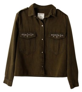 Zara Embellished Olive Green Womens Jean Jacket