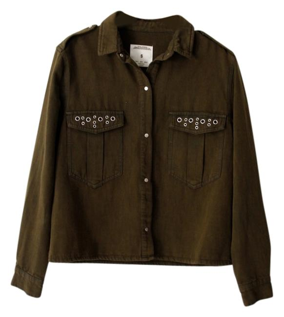 Preload https://item2.tradesy.com/images/zara-olive-green-premium-collection-denim-jacket-size-6-s-5550646-0-0.jpg?width=400&height=650