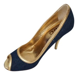 Dolce&Gabbana Dg Dolce & Gabbana & Heels Rock N' Roll Gold & Denim Pumps