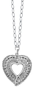 Jeweler's club 1 Carat Total Weight Genuine Diamond Heart Pendant in Sterling Silver