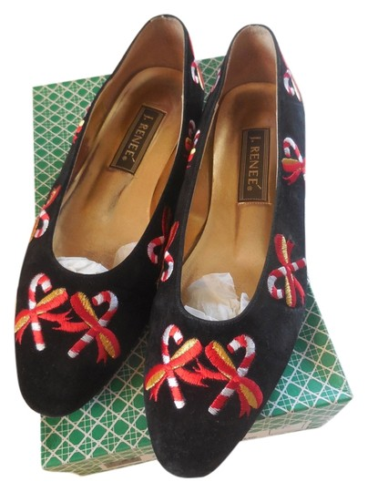 J. Reneé Embroidery Holiday Festive Black Flats