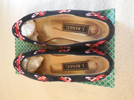 J. Reneé Embroidery Holiday Festive Suede Candy Canes Black Flats