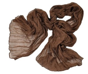 Chocolate Brown crinkle long cotton scarf Free shipping