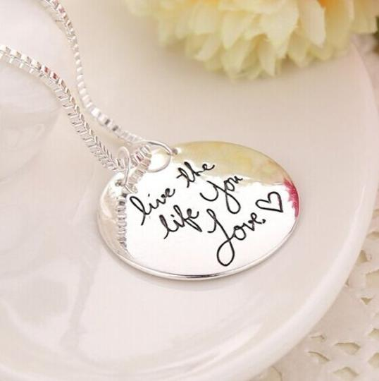 Bogo Silver Plated Engraved Necklace Free Shipping