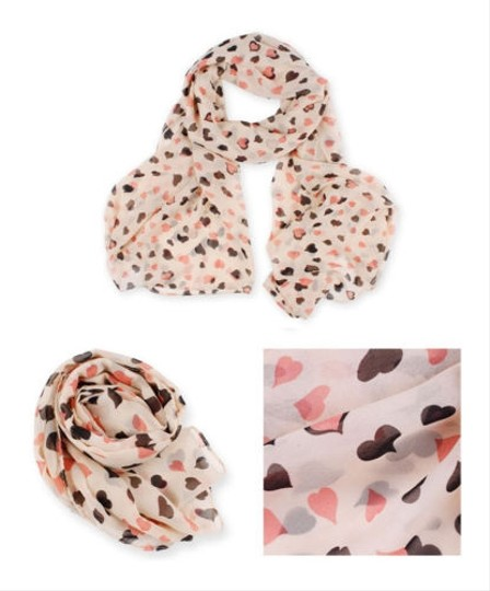 Other Pink Heart Chiffon Scarf Wrap Free Shipping
