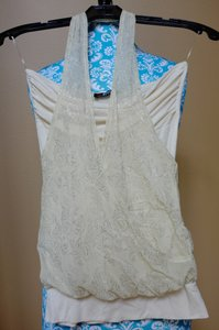 Morgan de Toi Vintage Lace Cream & Teal Halter Top