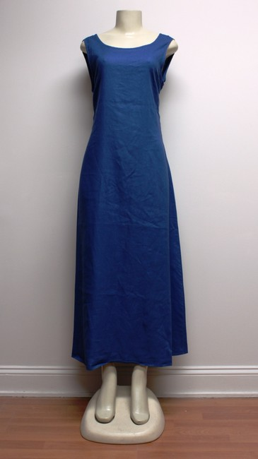Merona short dress BLUE Linen Long Sleeveless Multi-use Xl Maxi on Tradesy