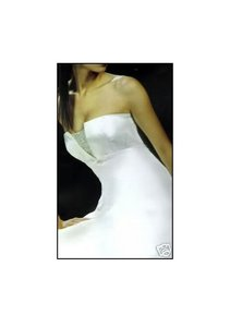 Paloma Blanca White Silk Duchess Satin 3343 Wedding Dress Size 6 (S)