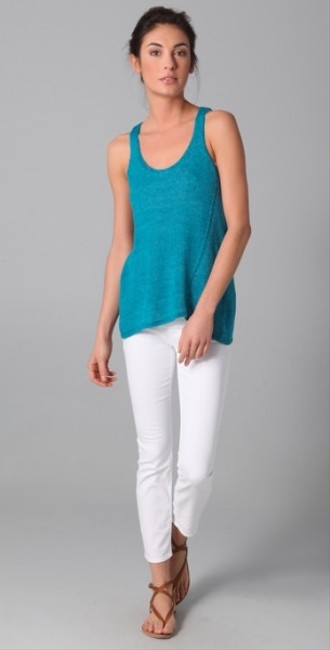 Vince Knit Knit Linen Linen Top Blue
