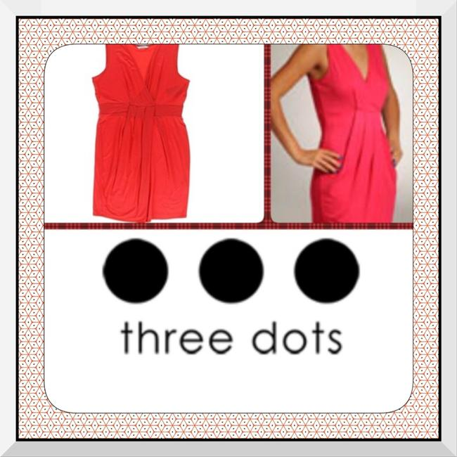 Three Dots Party Wedding Dance Office Party Holiday Rouching Pleated Slimming V Neck Dress