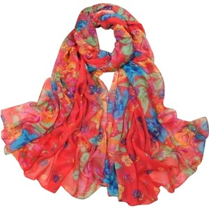 Other Red Floral Cotton Long Scarf Free Shipping