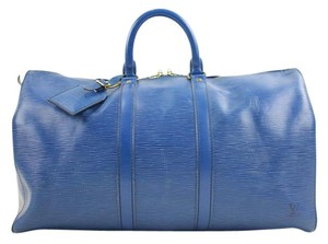 Louis Vuitton Epi Leather Keepall Keepall Toledo Blue Travel Bag