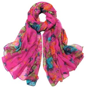 Fuchsia Floral Multi Colored Scarf Wrap Free Shipping