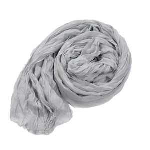 Grey Crinkle Cotton Long Scarf Wrap Free Shipping