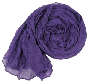Dark Purple Crinkle Cotton Long Scarf Wrap Free Shipping