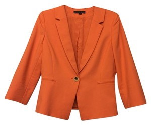 Antonio Melani Tailored Button Cotton Stretchy Stretch Modern Full Length Structured Sleek Chic Fitted Bright Orange Blazer