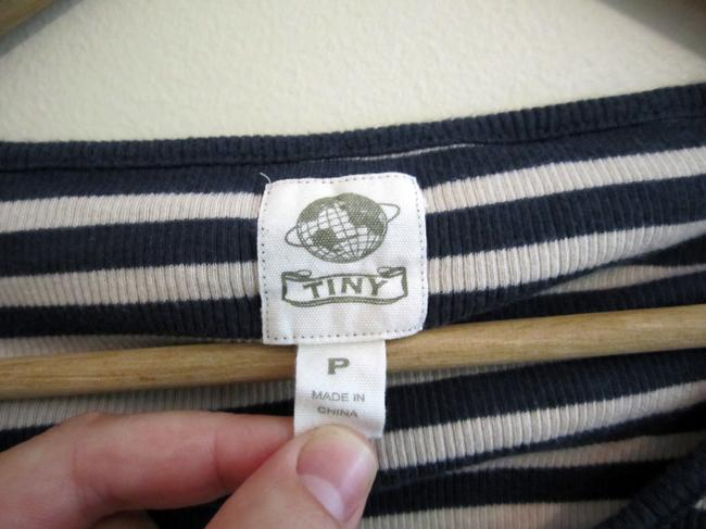 Tiny Top Blue and White stripes
