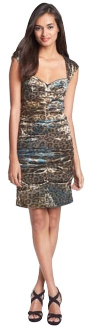 Preload https://img-static.tradesy.com/item/5554486/nicole-miller-leopard-blue-ruched-sexy-open-short-night-out-dress-size-6-s-0-0-650-650.jpg