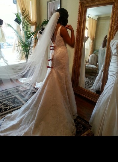 Ivory 2 Pieces Of Fabric - Net and Satin Feminine Wedding Dress Size 6 (S)