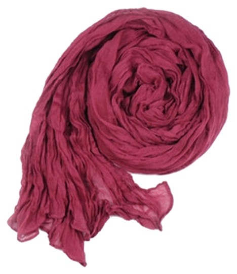 Other Crinkle Cotton Wine/Burgundy Long Scarf Free Shipping