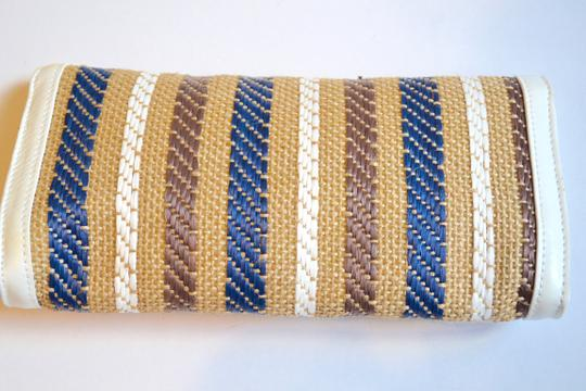 Sondra Roberts Woven Summer Stripe Tan, White and Navy Blue Clutch