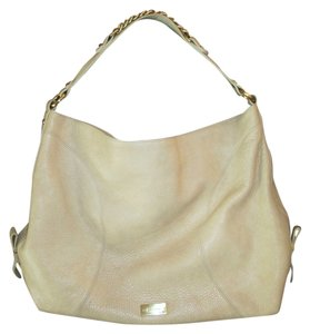 Brahmin Slouchy Smooth Leather Gold Cream Chain Hobo Bag