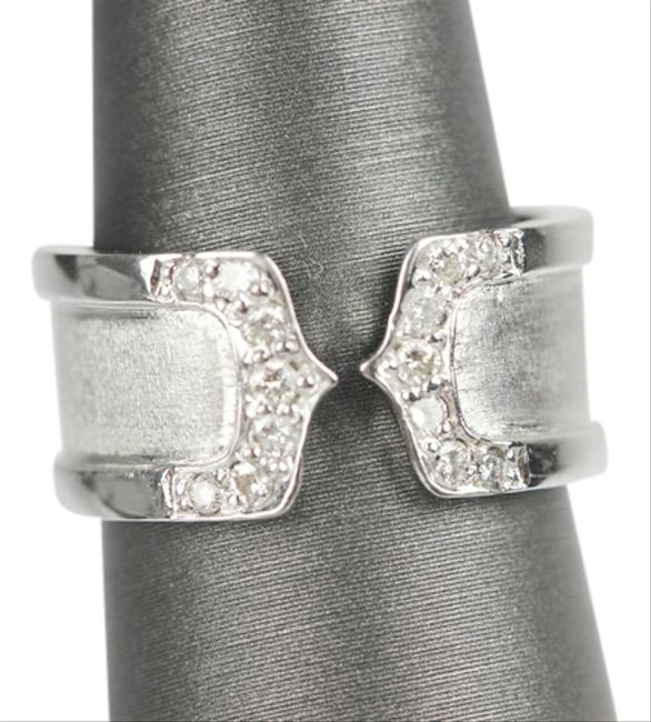 Cartier White Gold Double C with Diamonds By Logo Collection Ring Image 1