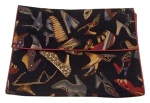 Salvatore Ferragamo Vintage Black Shoe Print Clutch