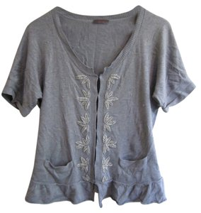 Wrapper Embelished Button Up Top Heather Gray