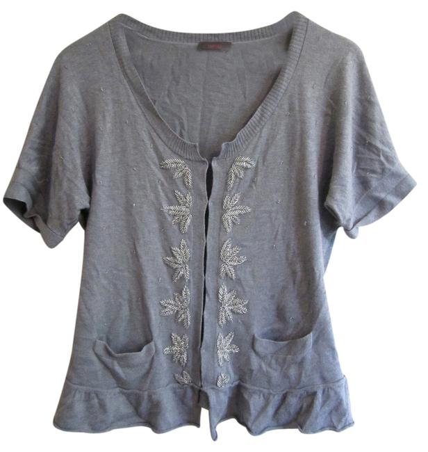 Item - Heather Gray Embelished Cotton Blouse Size 6 (S)