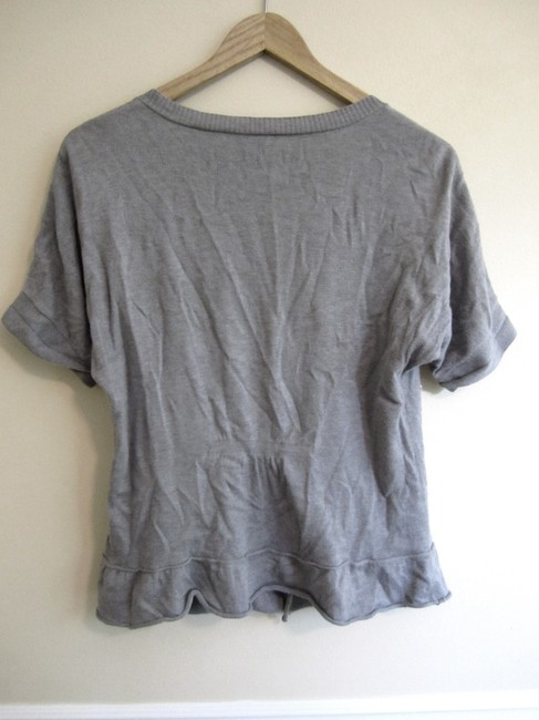 Wrapper Cute Embelished Button Up Top Heather Gray